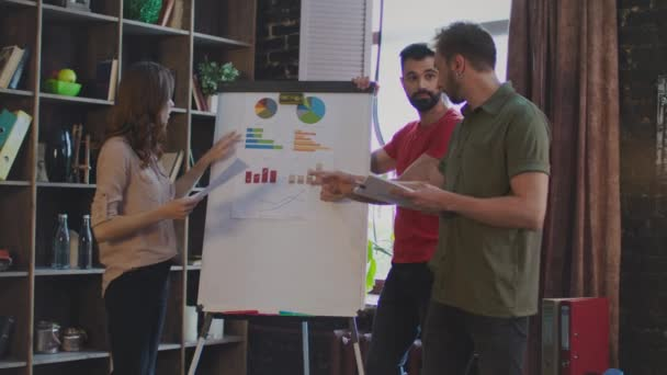 Young business people argue about business plan on white board in office
