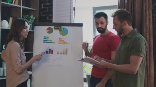 Sales team discussing marketing plan on whiteboard in office. Brainstorming team