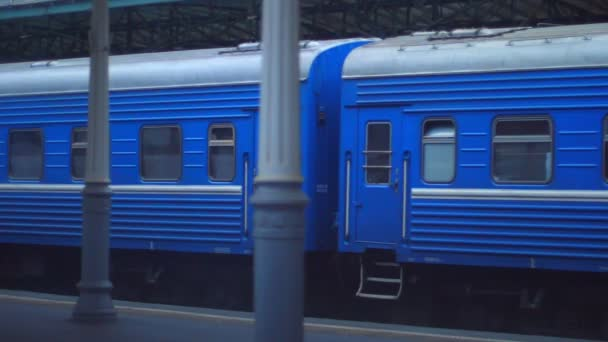 Passenger train wagons at railway station. Railway transport. Traveling by train