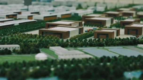 Model architektury industriální čtvrti s komerční budovy