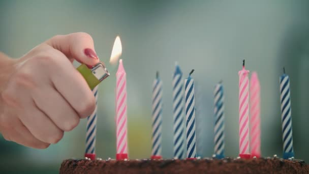Female Hand Burning Candle On Birthday Cake Happy Celebration Concept Stock Filmmaterial