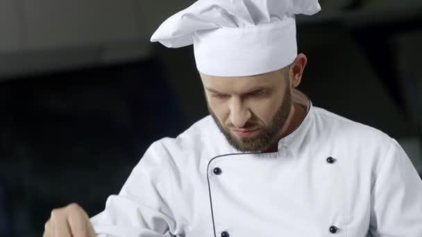 Portré szakács főzés a professzionális konyha. Komoly, séf sózás.