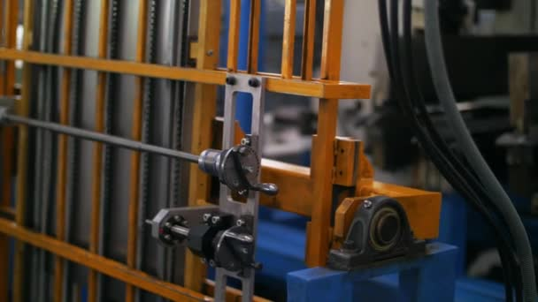Industrial equipment on manufacturing plant. Machinery on metalworking factory
