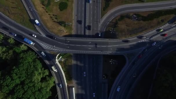 Top view car moving on freeway overpass. Car traffic on highway intersection