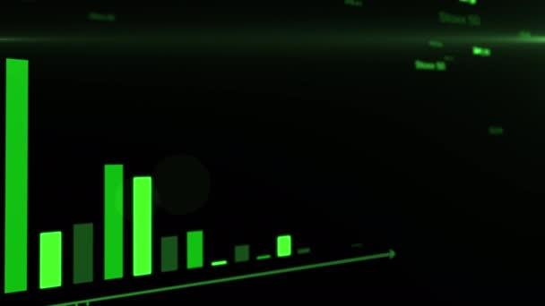 Misserfolgsdiagramme des Aktienmarktes. Analyse von Geschäftsdiagrammen auf digitaler Anzeige