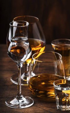 Strong Spirits Set. Hard alcoholic drinks in glasses in assortment: vodka, cognac, tequila, brandy and whiskey, grappa, liqueur, vermouth, tincture, rum. Vintage bar counter background, selective focus
