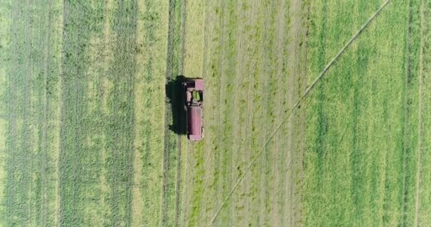 Aerial photography, combine harvester goes to the field. Farm, agriculture.