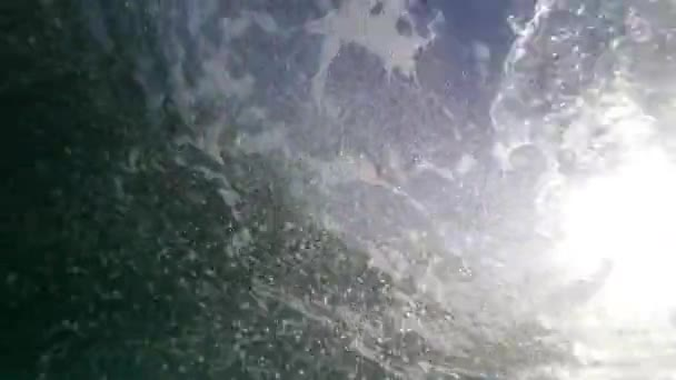 Air bubbles in the sea under water.