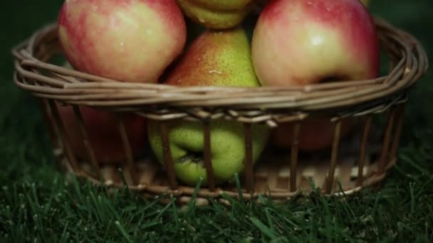 Apples and pears in a basket on the grass. The harvest of fruits.