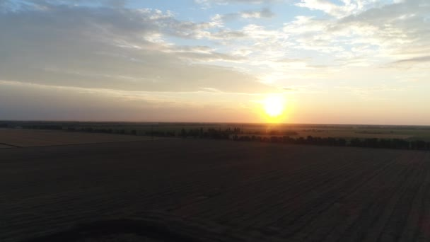 Sunset or sunrise in the field, aerial photography by drones.