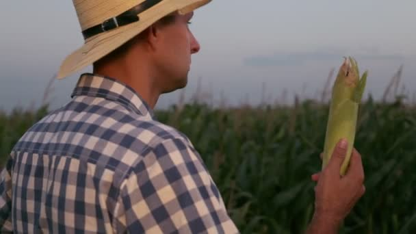 Man farmer in hat on a background of corn.