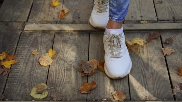 Im Herbst laufen die Turnschuhe der Frauen auf den Blättern. Zeitlupe.