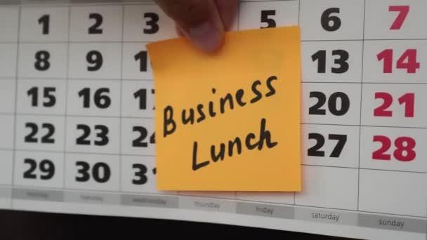 Kalendář sady Office, obchodní oběd nápis na štítku.