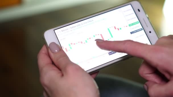 Smartphone-val a készlet, valuta, bitcoin és Forex árfolyam diagram.