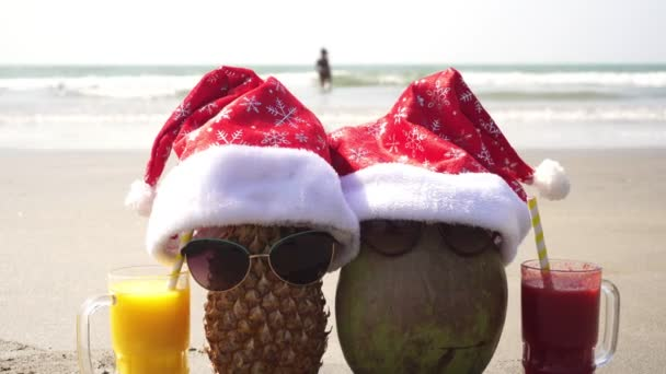 Christmas at sea. Fruit tourist family pineapple and coconut on the beach