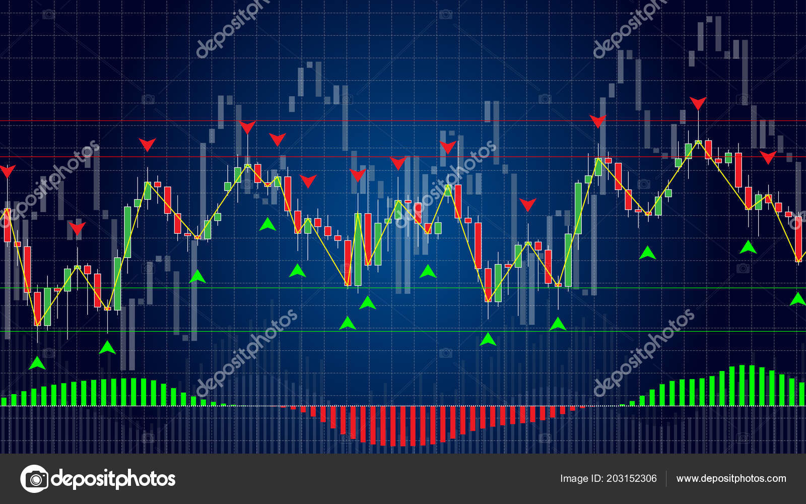 Forex Trading Indicators Vector Illustration Blue Background