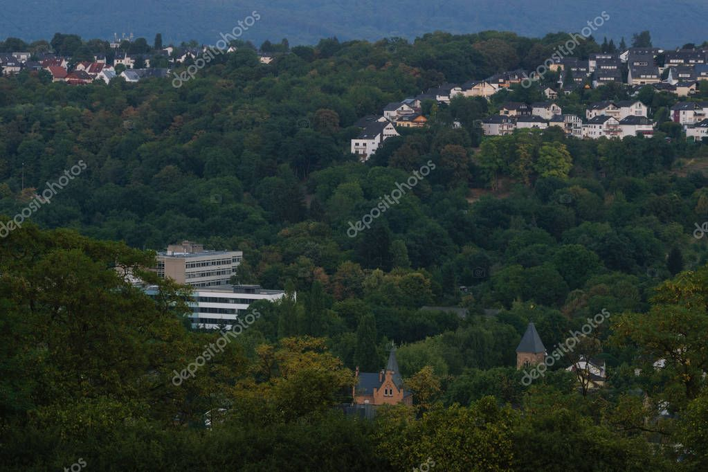 Koblenz - Germany, July 27, 2018: Evening view of the city of Koblenz, Germany, the day of the moon eclipse