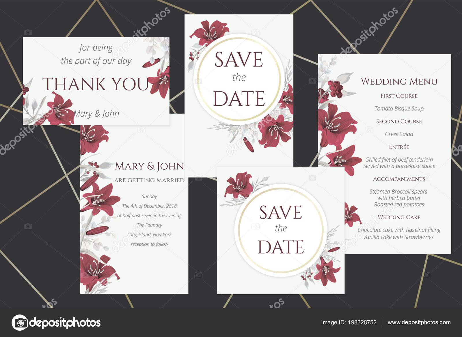d2d9f46e872e Uppsättning Bröllop Kort Med Vin Liljor — Stock Vektor © Hmarka ...