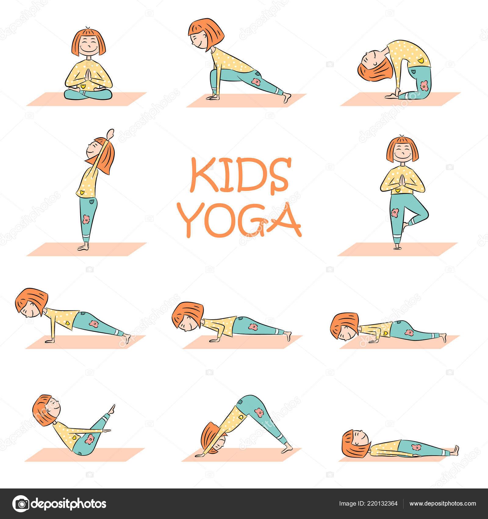 Kids Yoga Set Cute Cartoon Girl Different Yoga Poses Flat Stock Vector C Yanabolbot Gmail Com 220132364