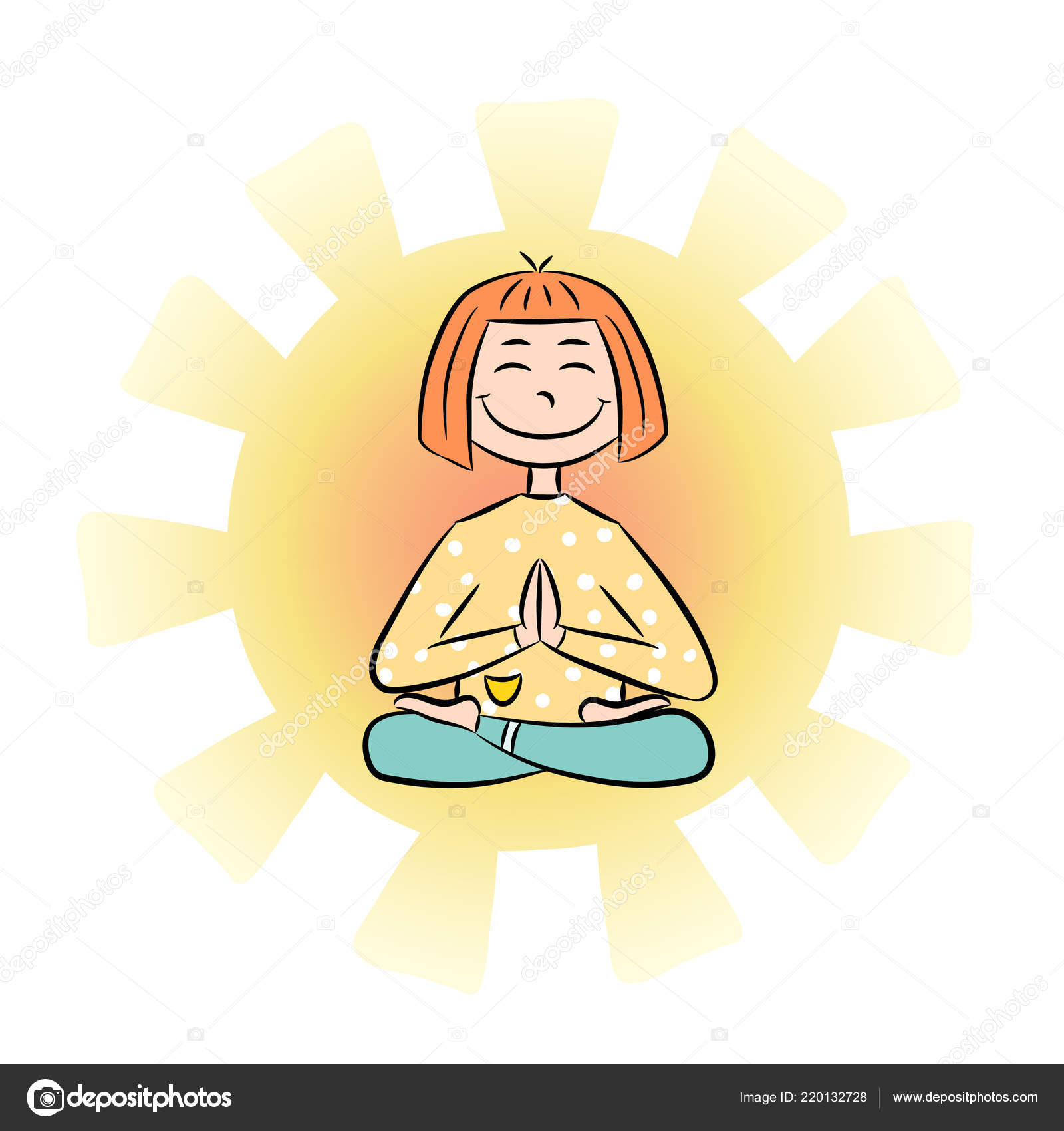 Image Cartoon Funny Girl Sitting Lotus Position Yoga Yoga Logo Stock Vector C Yanabolbot Gmail Com 220132728
