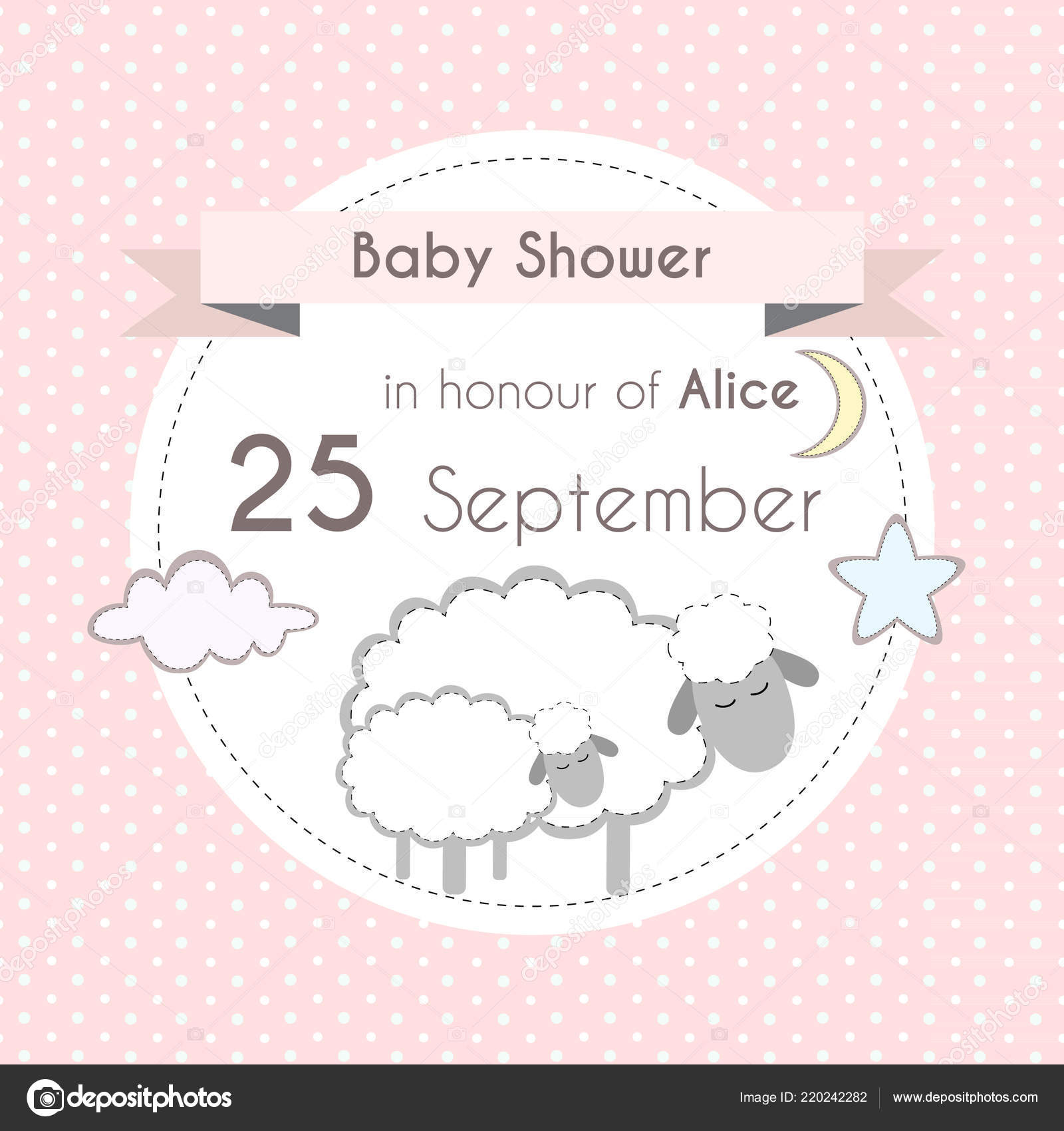 Baby Shower Girl Invitation Card Template Scrapbooking