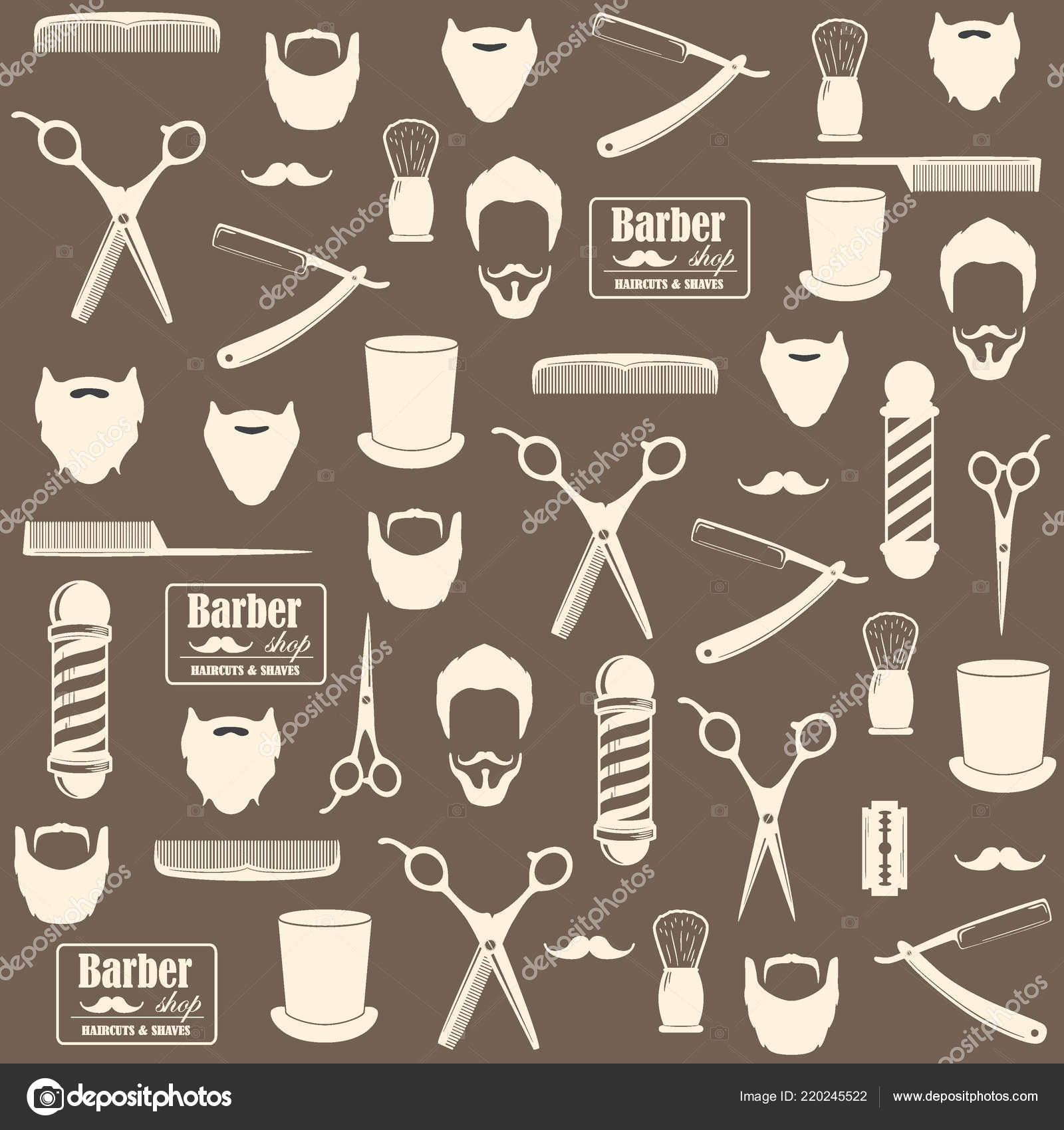 Background Barber Wallpaper Barber Shop Vintage Seamless