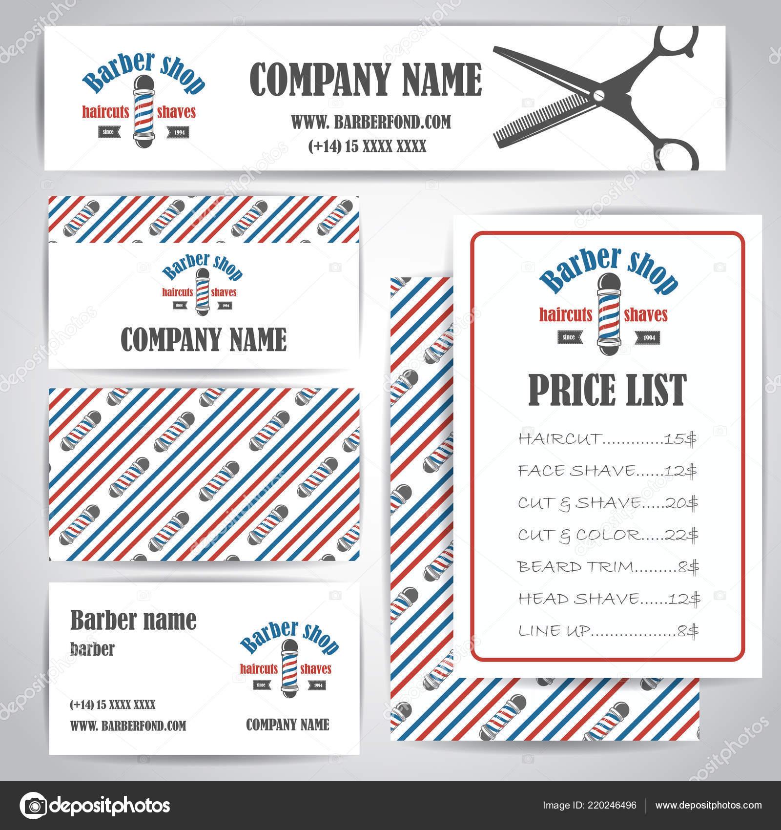 Friseur Shop Vintage Visitenkarten Und Preise Design Vorlage