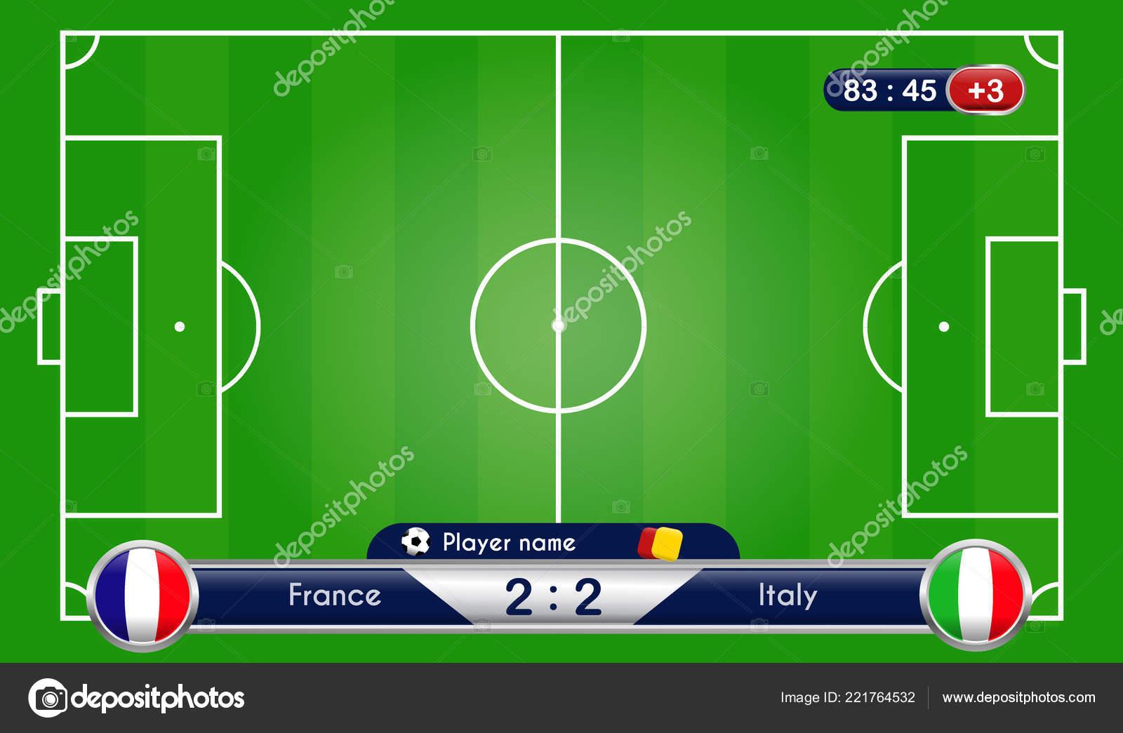 f6af24e879660 Estadísticas de partido de fútbol fútbol. Marcador y fútbol campo de juego.  Francia contra la selección de Italia. Ilustración de vector de fondo  digital.