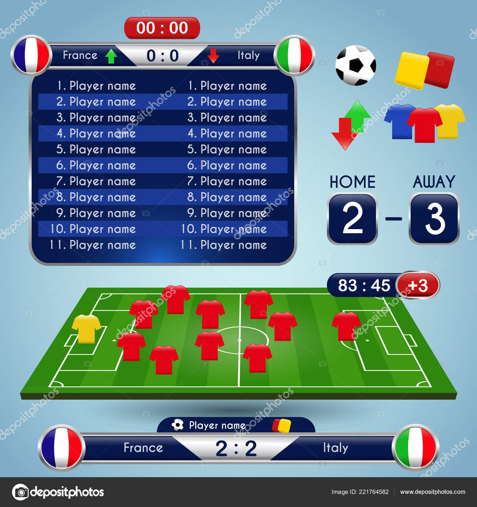Broadcast Graphics For Sport Program Soccer Match Statistics Elements Template Football Formation And Stadium Playfield Scoreboard