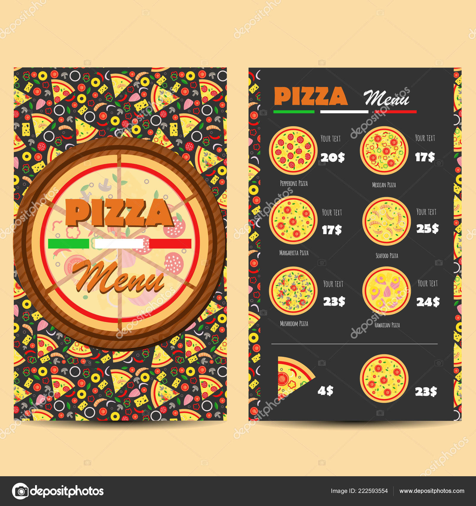 Pizza Menu Design Leaflet Flyer Layout Template Restaurant Menu Vector Stock Vector C Yanabolbot Gmail Com 222593554
