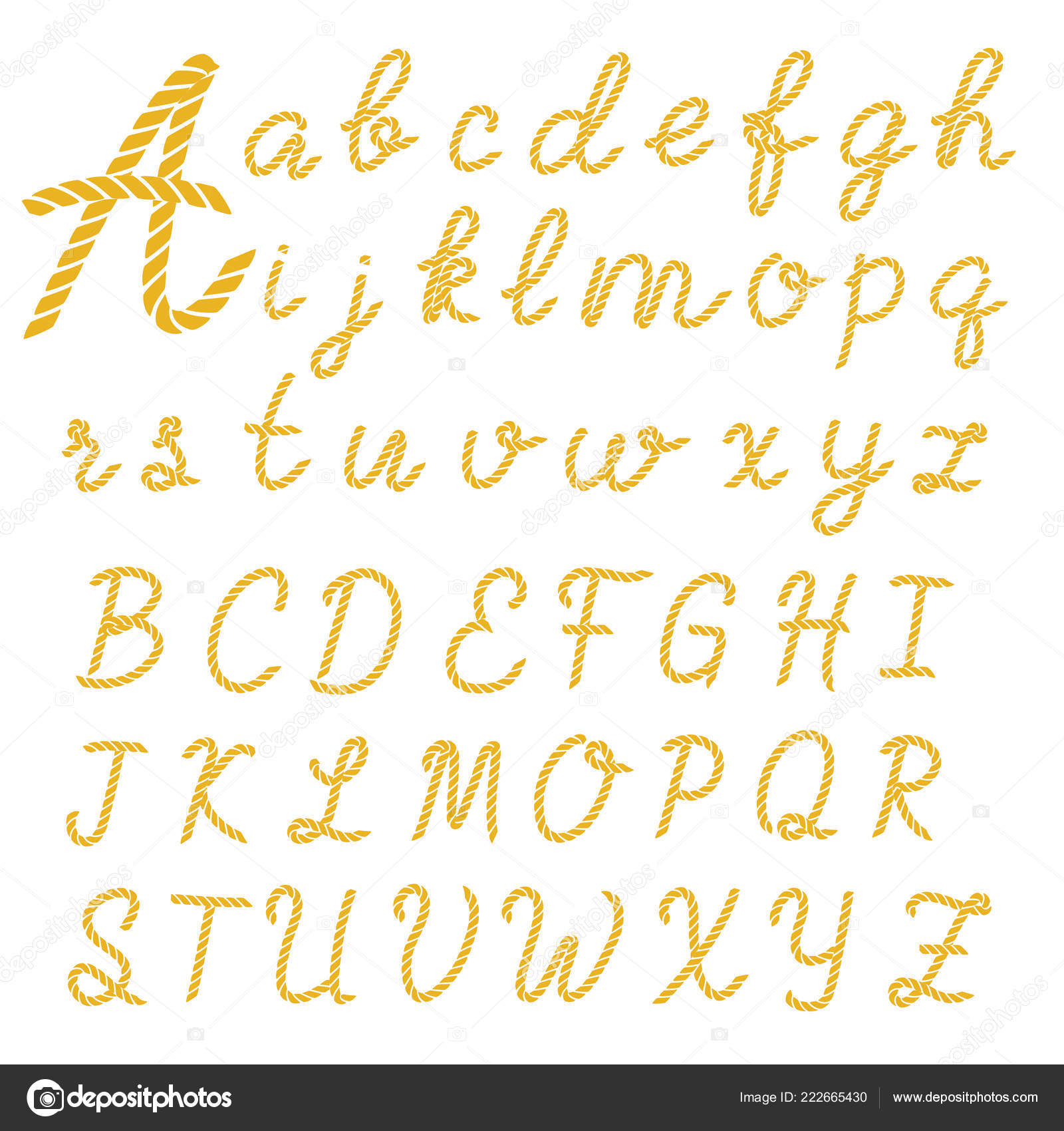 Rope Font Set Alphabet Letters Made Nautical Rope Vector
