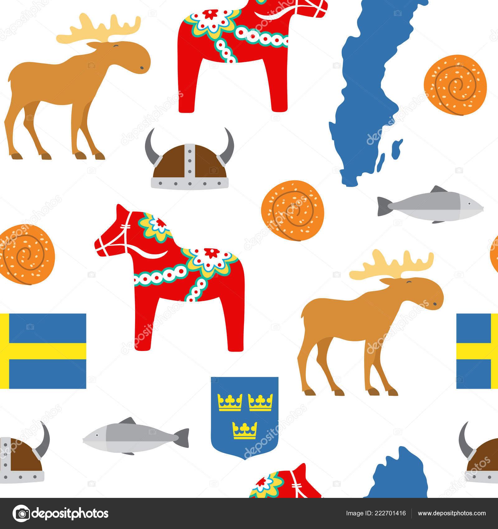 Suecia Símbolos Patrones Sin Fisuras Ilustración Vector — Vector de ...