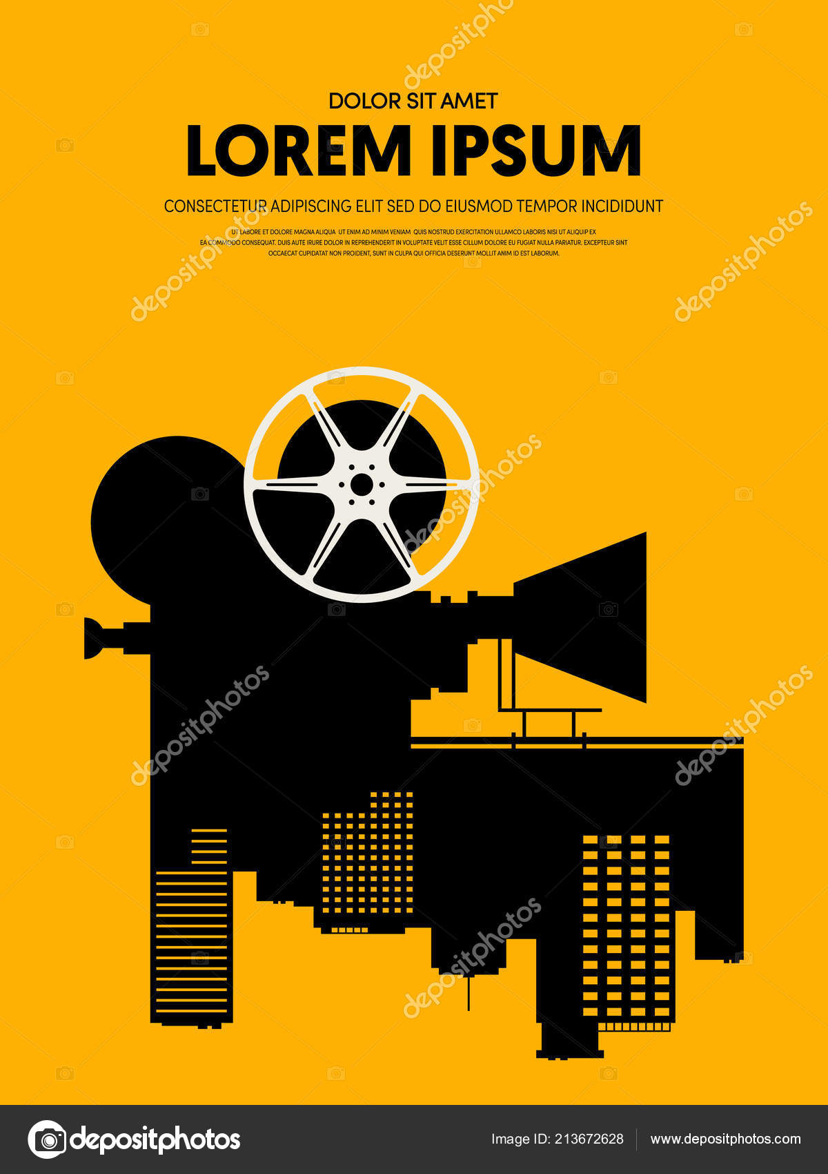movie film poster template design modern retro vintage style can