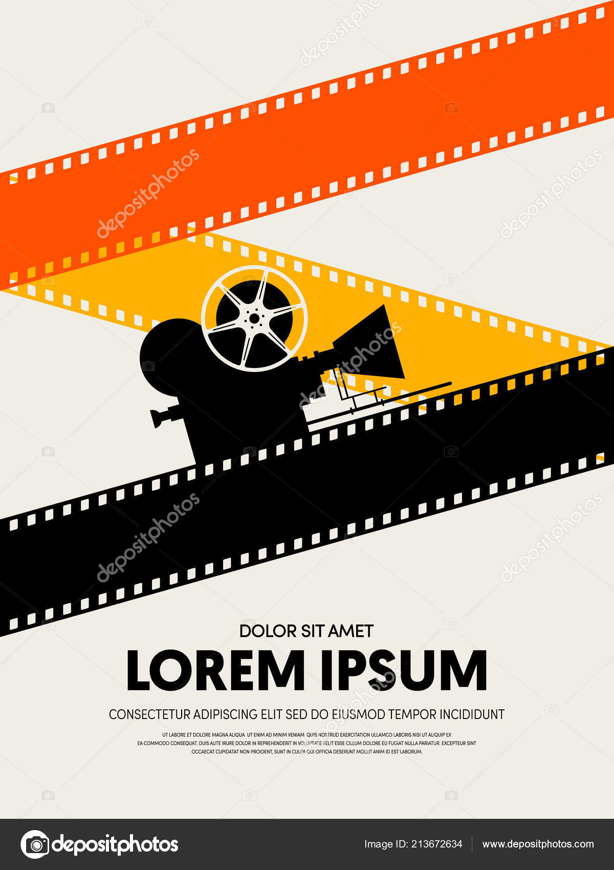 movie and film festival poster template design modern retro vintage style can be used for background backdrop banner brochure leaflet publication - Film Festival Brochure Template