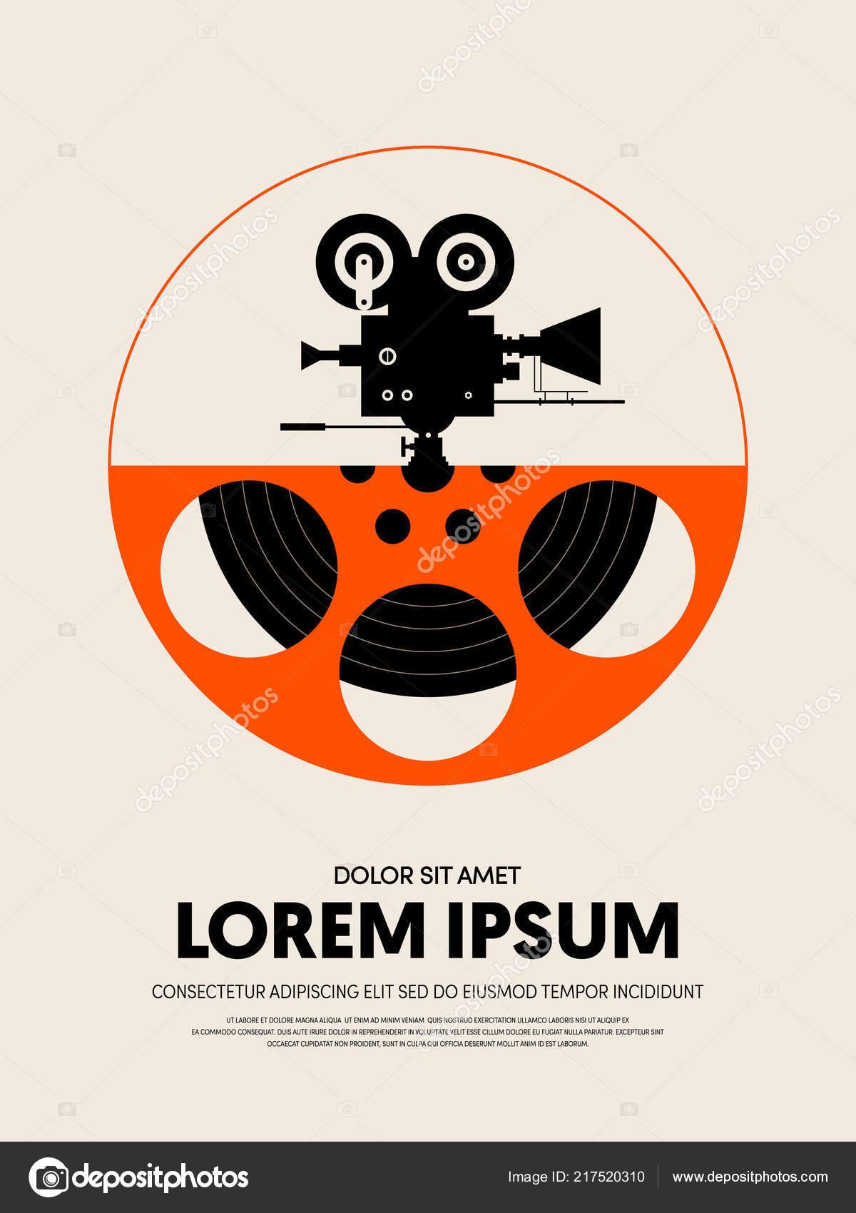 Movie Film Festival Poster Template Design Modern Retro Vintage Style Stock Vector