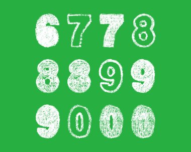 handwritten white chalk bold arabic numbers 6, 7, 8, 9, 0 on green background, hand-drawn chalk numerals, stock vector illustration