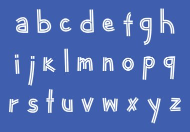 inline doodle sans serif font, lowercase outline handwritten letters, stock vector illustration