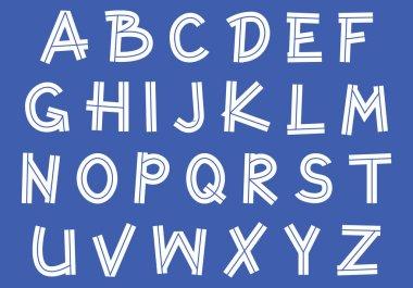 inline doodle sans serif font, uppercase outline handwritten letters, stock vector illustration