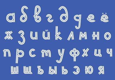 inline doodle font, lowercase outline handwritten letters, stock vector illustration