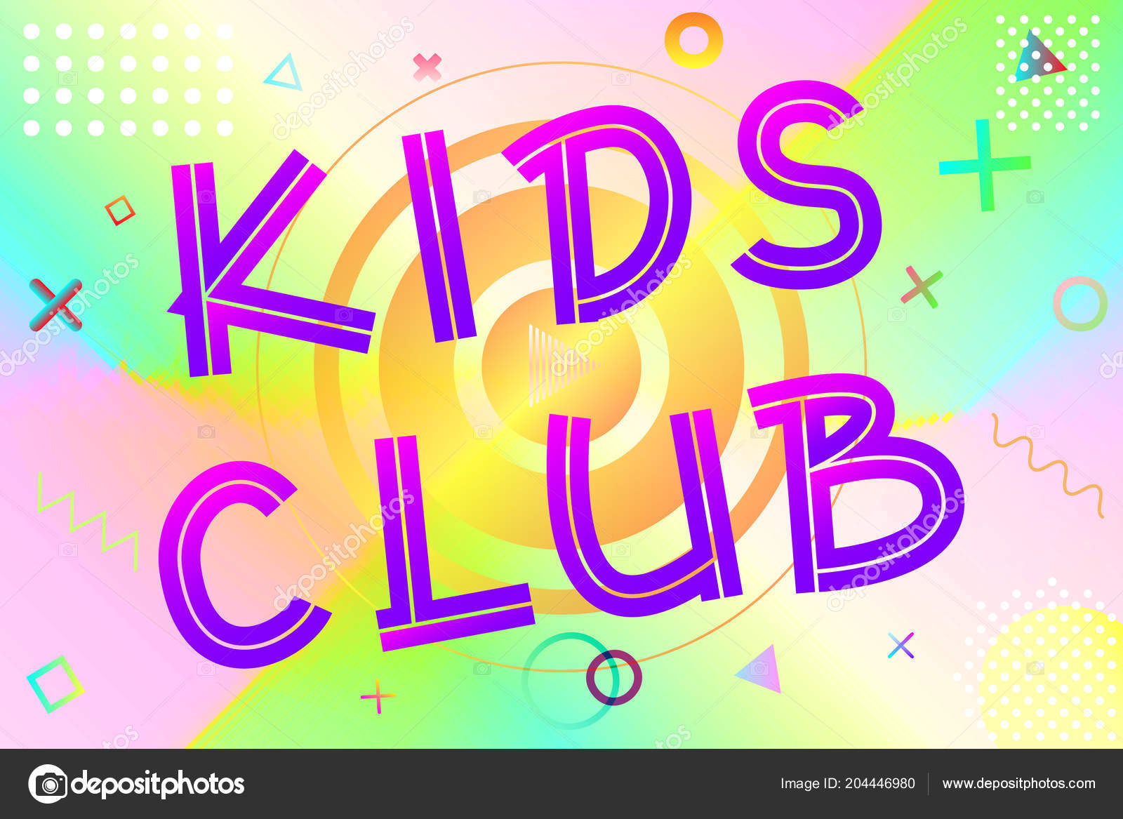 Kids Club Text Colorful Lettering Modern Gradient Bright Geometric