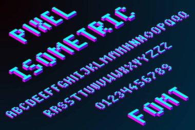 3d pixel isometric font in modern color, stock vector illustration