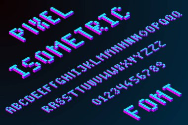 3d pixel isometric font in modern color. big data or server letters. stock vector illustration