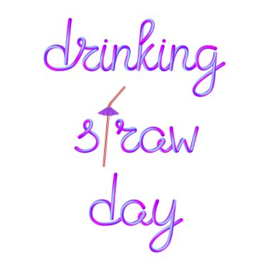 drinking straw day calligraphic lettering with classic striped red white plastic drinking straw and violet umbrella, stock vector illustration clip art