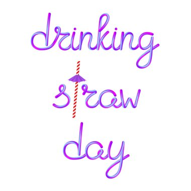 drinking straw day calligraphic lettering with classic retro striped red white paper drinking straw and violet umbrella, stock vector illustration clip art