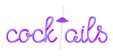 cocktails calligraphic colorful hand-drawn lettering with transparent glass straw and violet umbrella isolated on white background, stock vector illustration clip art