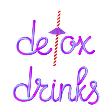 detox drinks calligraphic colorful hand-drawn lettering text with reusable retro striped paper straw drinking straw and umbrella isolated on white background, stock vector illustration clip art