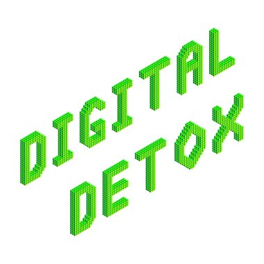 digital detox text in green colors isolated on white background, stock vector illustration clip art