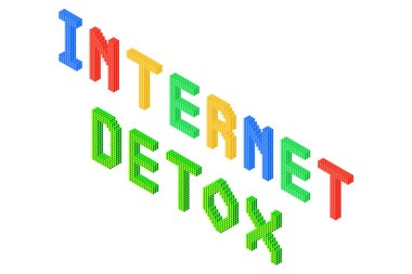 internet detox 3d isometric colorful text isolated on white background, stock vector illustration clip art template