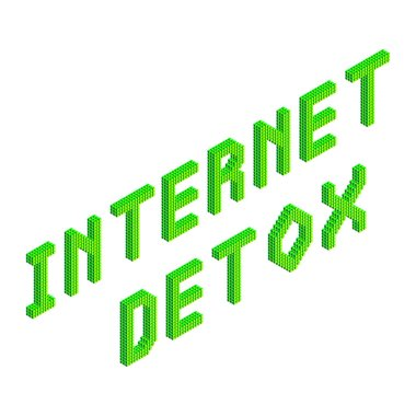 internet detox text in green colors isolated on white background, stock vector illustration clip art