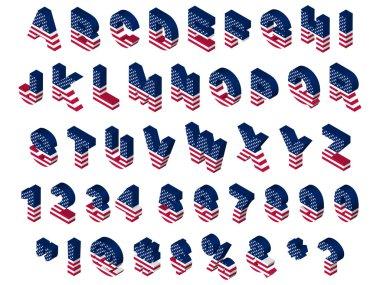 3d isometric usa flag font